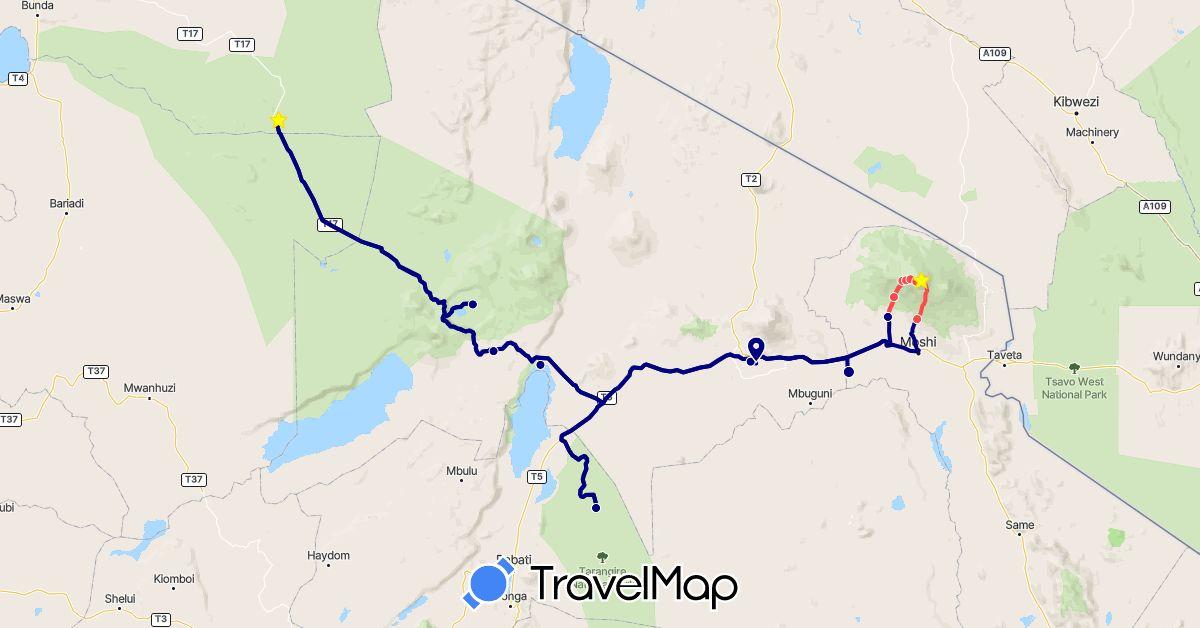 TravelMap itinerary: driving, plane, hiking in Tanzania (Africa)